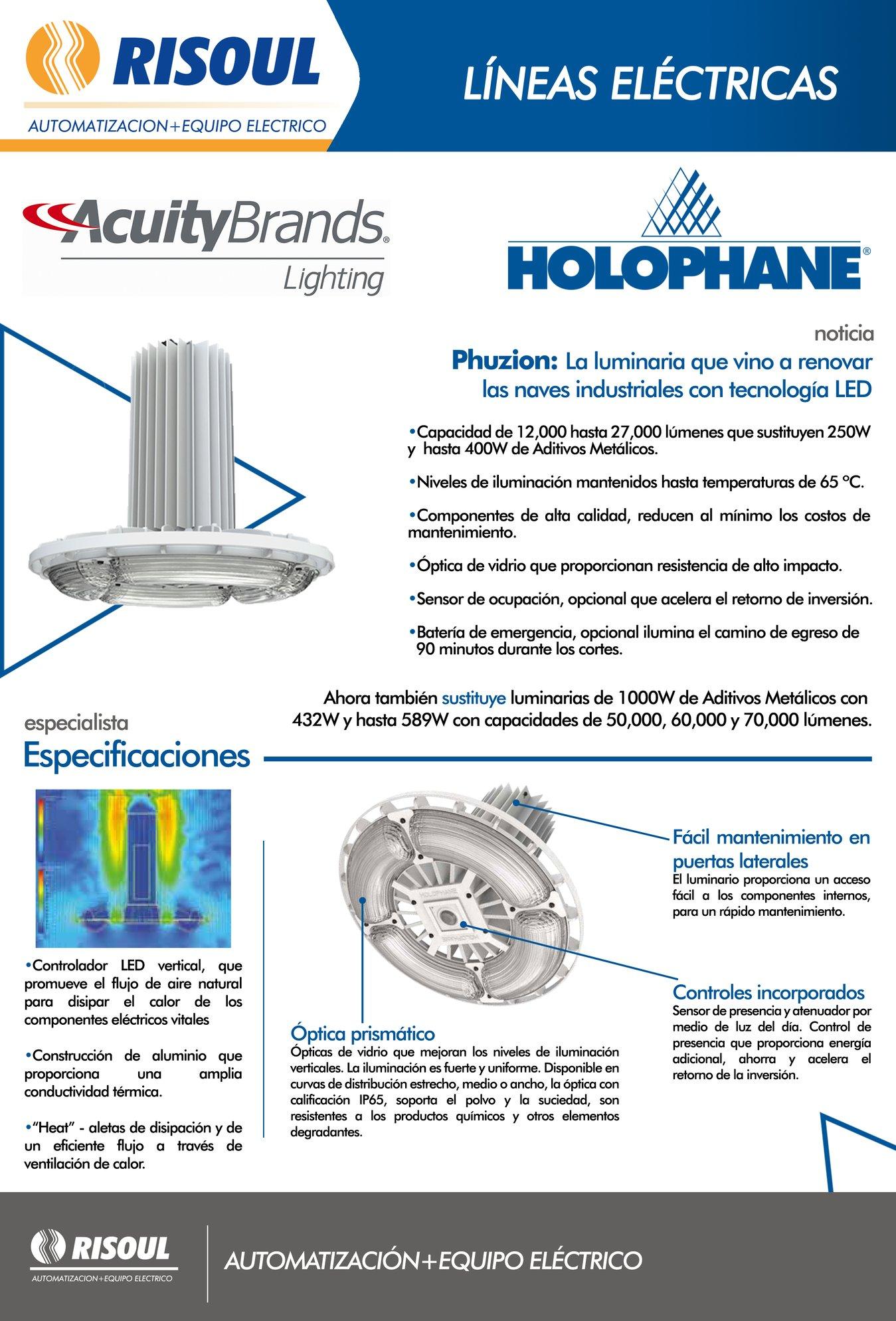 Características de luminaria Phuzion de Holophane